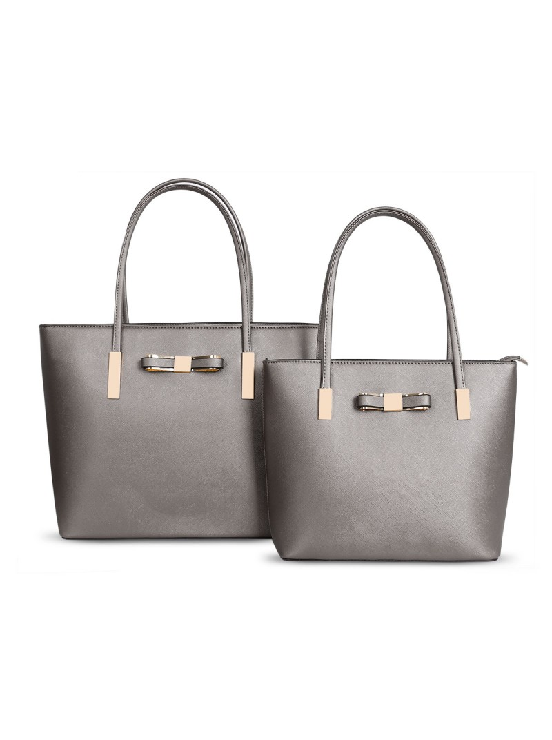 Clara handbag with bow detail tote bag in Pewter