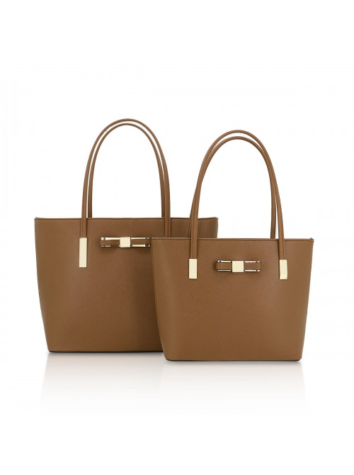 Clara handbag with bow detail tote bag in tan