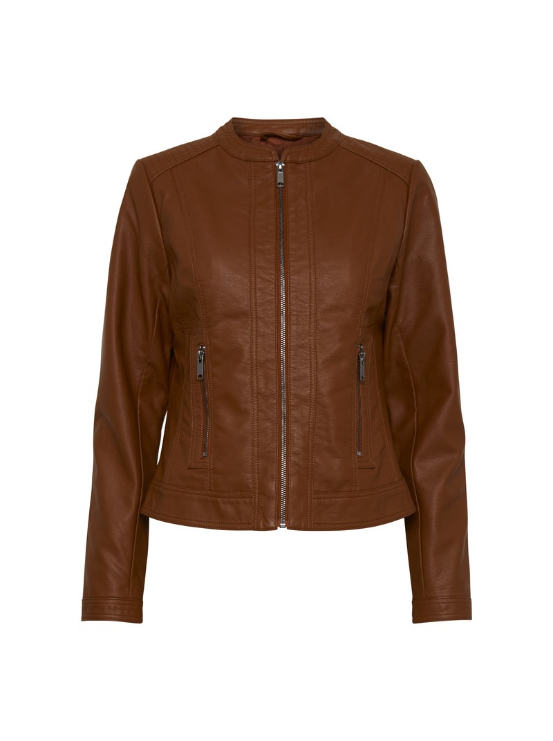 Elena Dark Copper Brown Biker Jacket by B.young