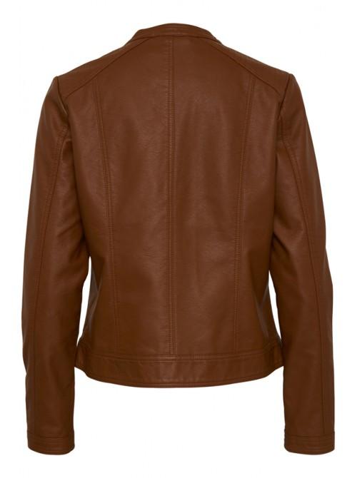 Elena Dark Copper Brown Biker Jacket by B.young