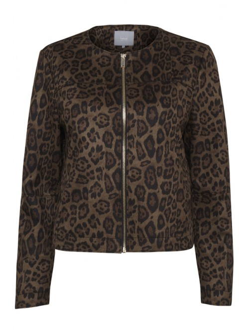 Emma Olive Green Leopard Print Faux Seude Jacket