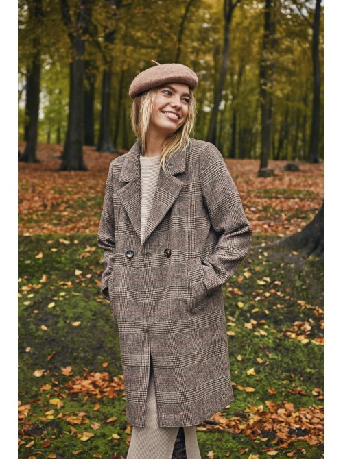 Jackie brown check long jacket coat from byoung