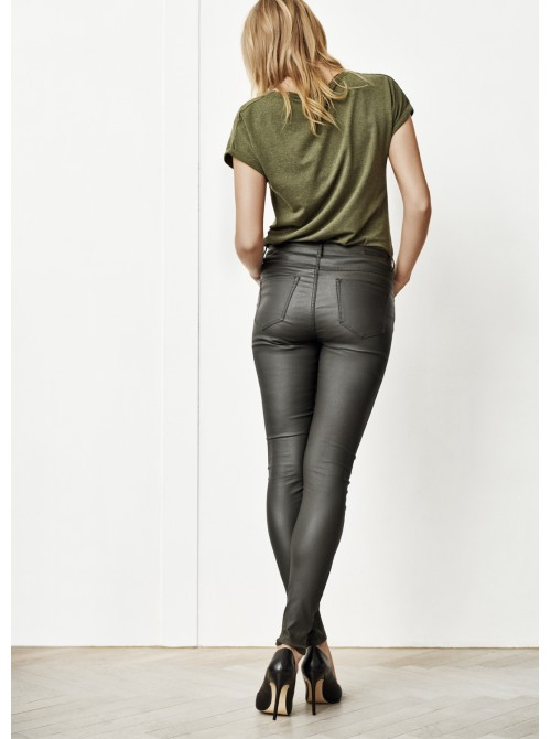 Chloe Peat Green wetlook skinny jeans by Byoung