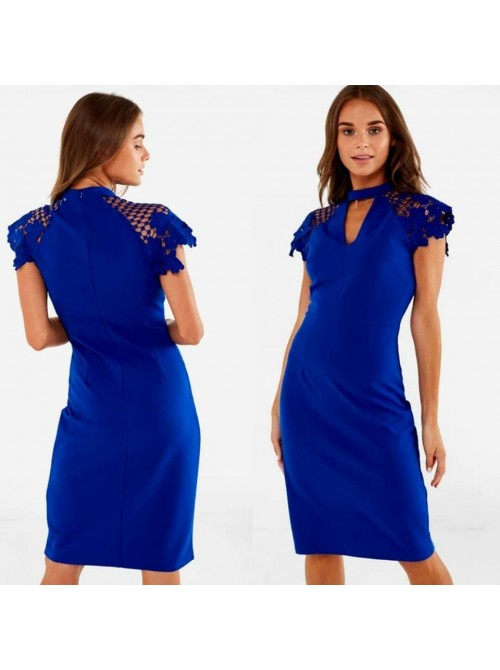 Kylie Cobalt Blue Occasion Midi Dress with Crochet Lace Sleeve in Royal Blue