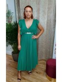 Miranda Emerald Green deep v-neck Pleated maxi dress