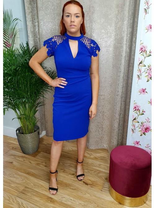 Cobalt Blue Occasion Midi Dress with Crochet Lace Sleeve in Royal Blue Belle de Paris Boutique Monaghan Ireland UK Free Delivery