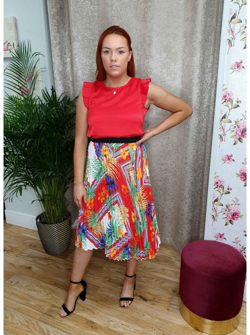 Emma Red Tropical floral print Pleated Midi Skirt