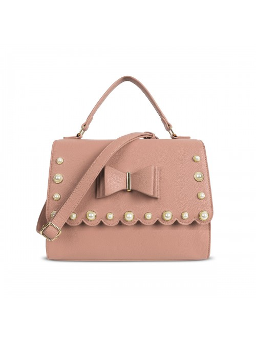 LYDC Pearl Studded Bow Detail Handbag in Pink
