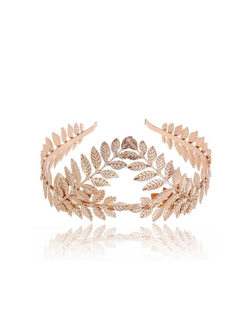Goddess Leaf Flower Hair Crown Head Piece in Gold