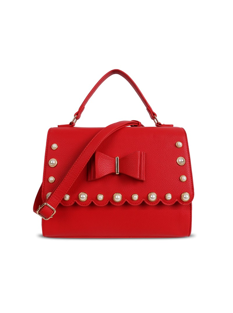 LYDC Pearl Studded Bow Detail Handbag in Red