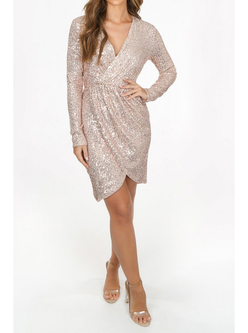 Alicia Sequin Wrap Dress rose gold sparkly party season dress