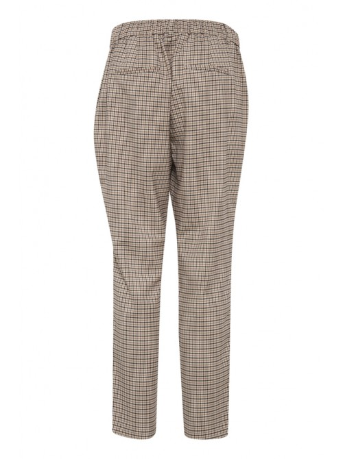 Sienna Cream, Beige and Brown Pants Check Trousers by B.young