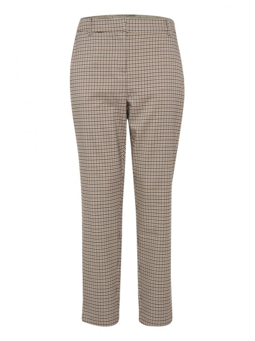 Sienna Cream, Beige & Brown Pants Check Trousers by B.young