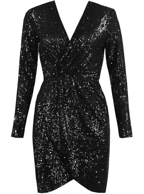 Alicia Sequin Wrap Dress black sparkly party season dress