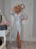 Alice Silver Sequin Wrap Dress sparkly party season dress
