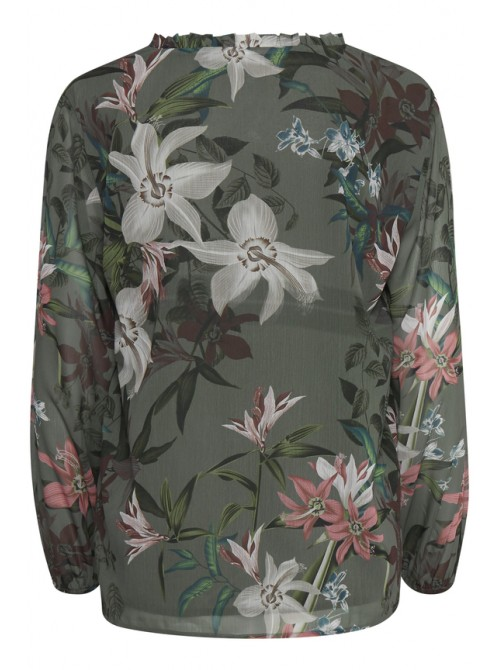 Anna Flower Print Sea Green Long Sleeve Blouse by b.young