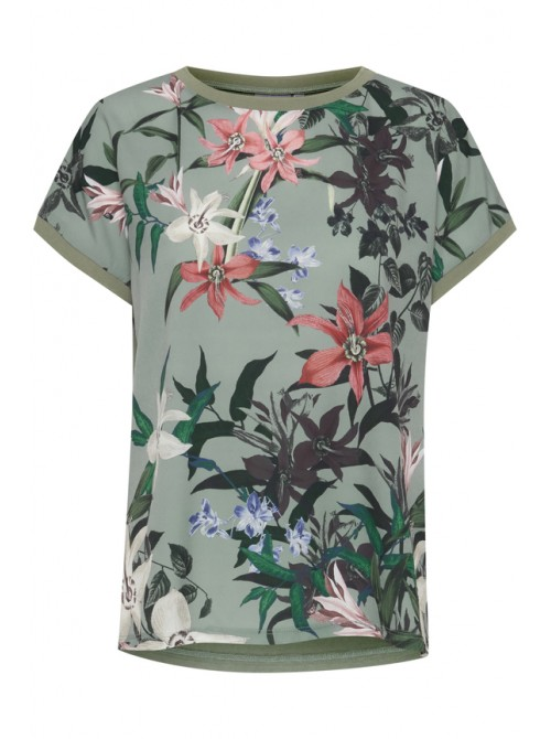 Diana pretty green and pink Floral Print Round Neck short sleeve T-Shirt