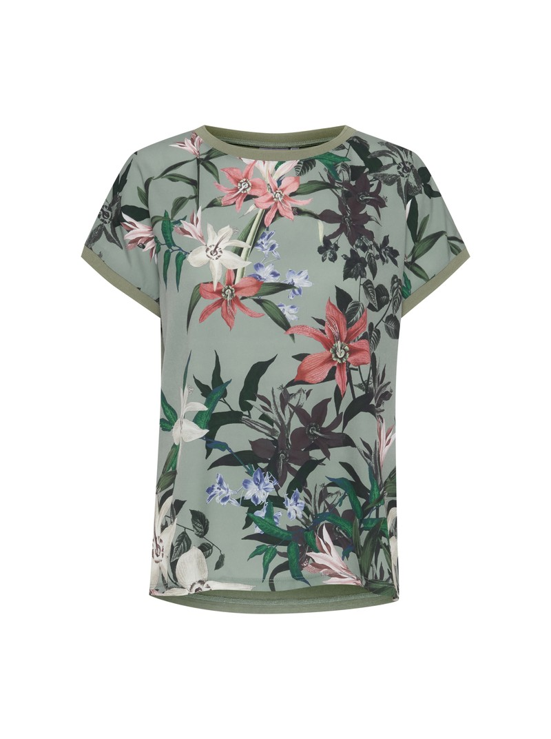 Diana Floral Print Round Neck Sea Green T-Shirt top