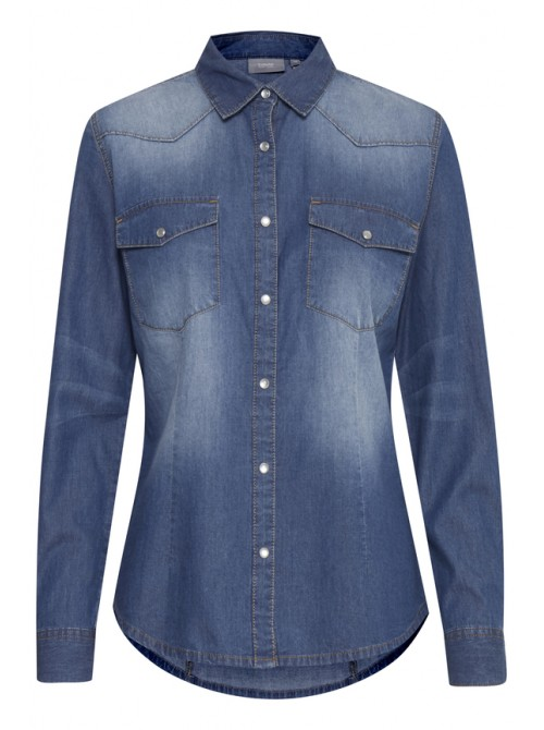 June Blue Denim Western Shirt by b.young