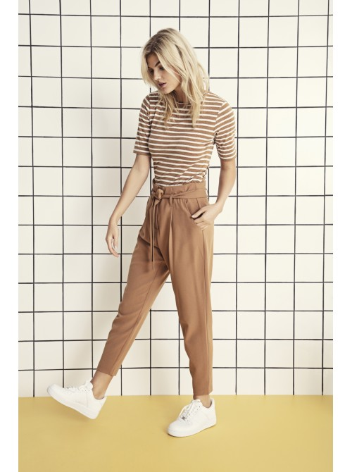 Olive Almond Brown Pants Trousers With The Belt by b.young
