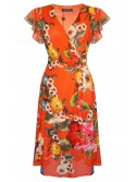 Carla Red floral and polka dot wrap dress from Arggido