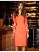 Emmalisa Coral ruffle slit sleeve Arggido Dress