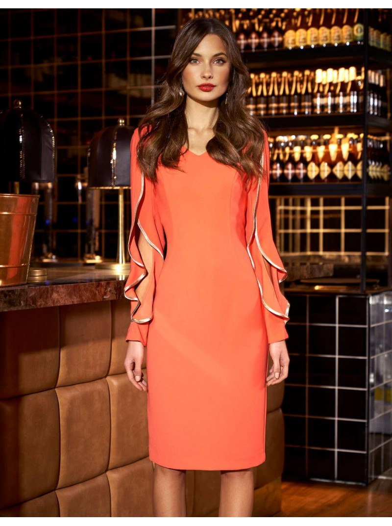 Emmalisa Coral ruffle slit sleeve Arggido Dress