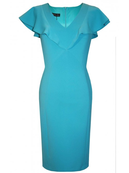 Kylie Teal ruffle capped short sleeve occasion Dress from Arggido