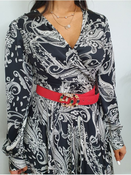 Ciara Long black and white paisley print silky feel wrap style maxi dress with tie ribbon belt