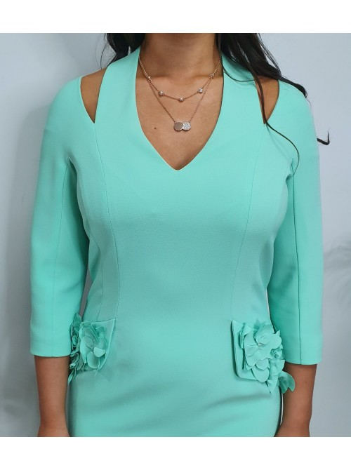 Georgie mint green occasion dress long sleeves cold shoulder Arggido