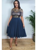 Kayla Navy and Gold Sequin sparkly Skater Dress for wedding guest christmas party