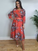 Louise Red and floral print belted skater dress from Arggido