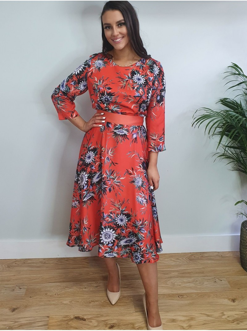 Louise Red and floral print belted skater dress