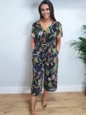 Jennie Navy tropical floral print polka dot light chiffon material short sleeve jumpsuit from Arggido Spain