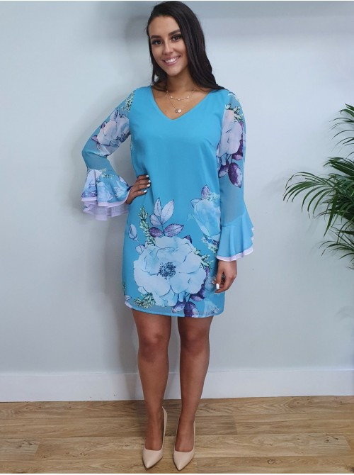 Callie turquoise aqua blue flroal print with fluted 3/4 length sleeves classic Tunic Style dress from Arggido