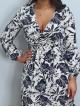 Emmaline Cream and Navy tropical leaf Print Midi Dress