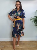 Kayla Navy and yellow Floral Print Midi Dress