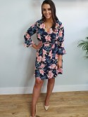 Karina Navy and Pink Floral Tropical Print Wrap style Dress