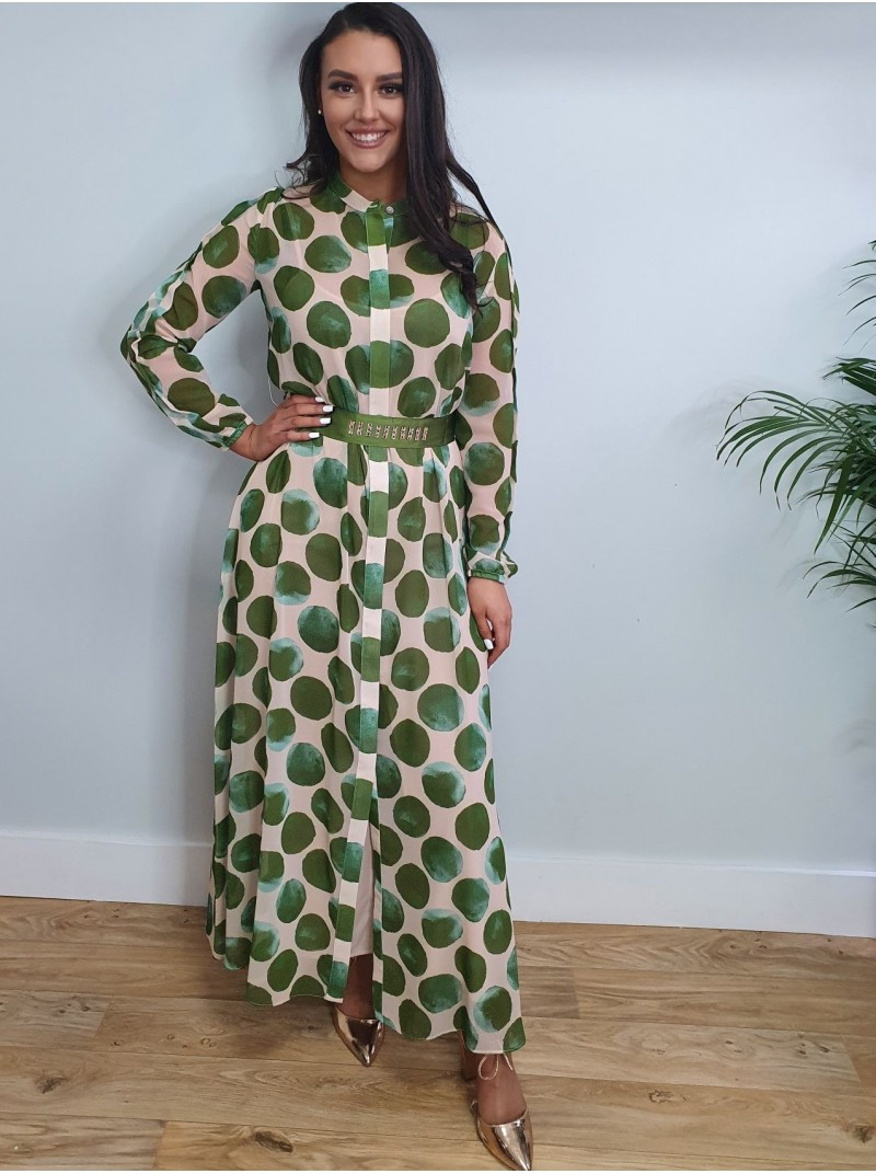Rachel cream and green polka dot maxi shirt dress with gold stud detail on the belt from Arggido
