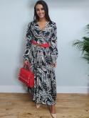 The Ciara Long black and white paisley print wrap style maxi dress,