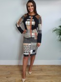 Charlotte black and tan geometric print midi dress with long sleeves and mesh shoulder detail from Arggido