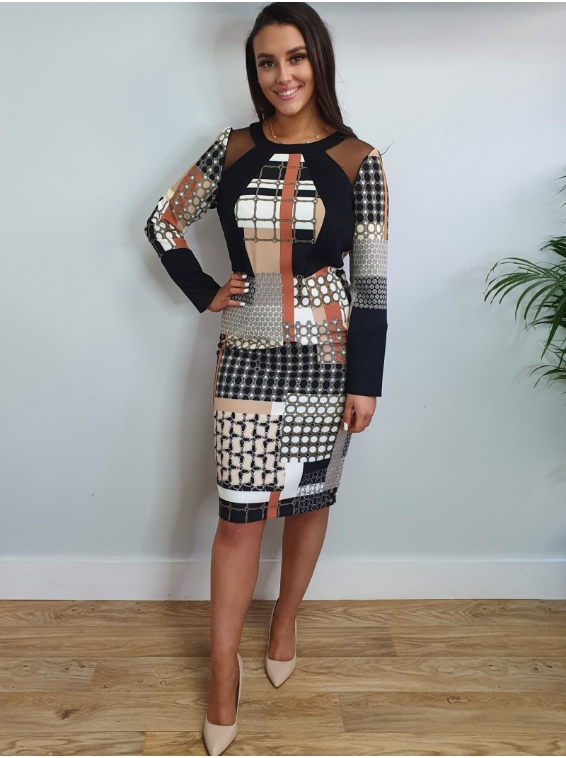 Charlotte black and tan geometric print with long sleeves and mesh shoulder detail from Arggido