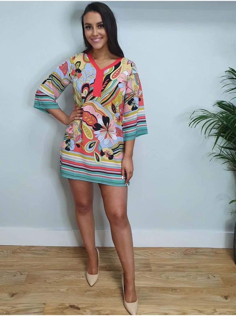 Marina pink and yellow abstract 70s print long sleeve Tunic dress Bellenisa