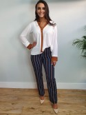 Jasmine Navy and Brown Striped Pants Trousers from Bellenisa