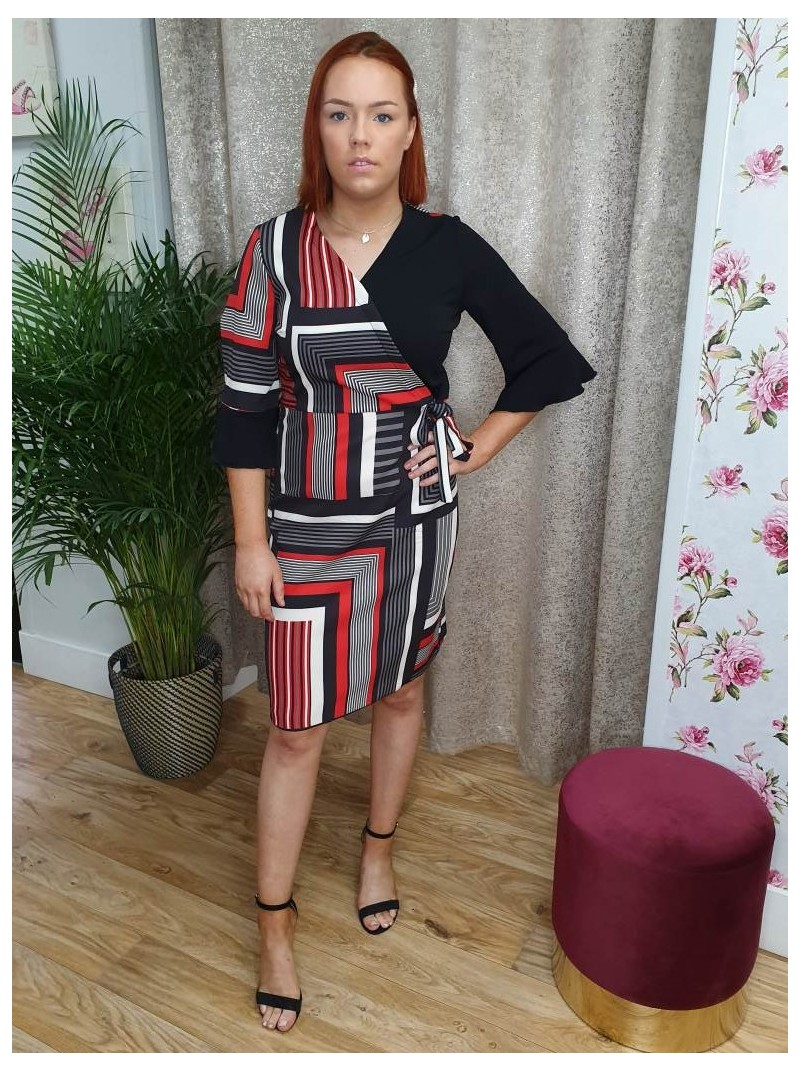 Candice classic red and black geometric striped print shift dress with tie waist detail and mid sleeve from Italian label Bellen