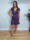 Kayla Animal Print Wrap Dress in Purple/Blue/Red