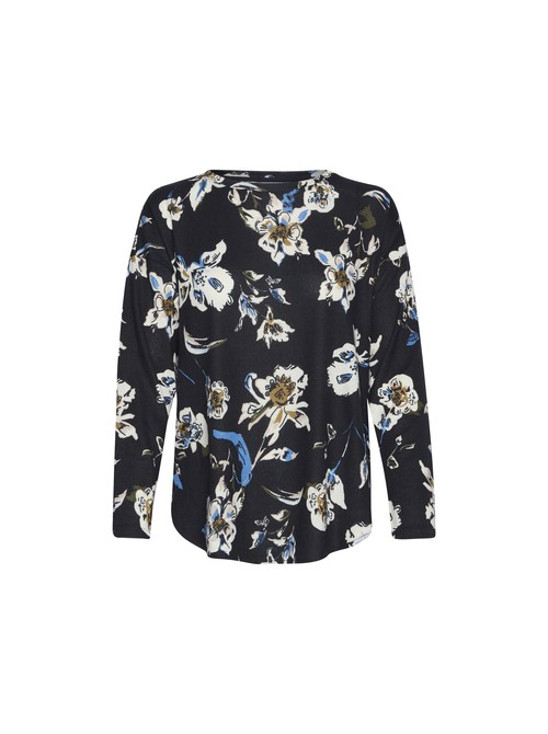 Vivian Flower Print Navy Pullover Long Sleeve Top by b.young