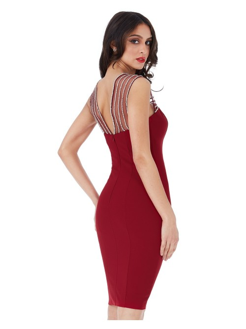 Kayla Wine Scarlet Red Embellished Fitted Midi Dress