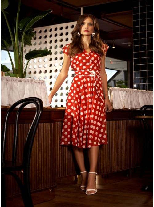Carmen Red polka dot wrap dress from Arggido
