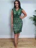 Rebecca Green Crochet Lace sleeveless shift dress with nude underlay